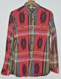 Polo Ralph Lauren Southwestern Aztec Indian Navajo Blanket Shirt Red Size Large