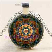 Sri Yantra Sacred Geometry Cabochon Glass Tibet Silver Chain Pendant Necklace
