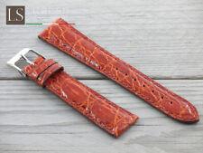 Cinturino in Pelle LS COCCODRILLO Bombato Lucido 18 20 22 Watch Strap Cognac