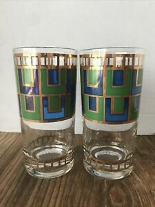 CERA GOLD BLUE GREEN MCM DRINKING GLASSES/TUMBLERS SET OF TWO