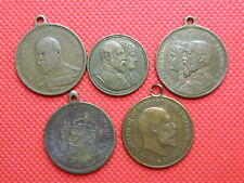 Historical Medals - 5 x KING EDWARD VII COMMEMORATIVE BRONZE MEDALLIONS (OS01)