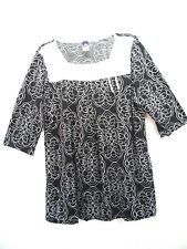 NEW BLACK/ WHITE PLUS SIZE WOMENS TOP BLOUSE 2XL AND 3XL BEST CHOICE BRAND B10