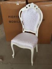 Sedia in legno Traforato e Intagliato, bianco, stoffa Cogne' Bianco