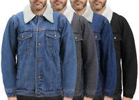 Men's Classic Cotton Denim Button Up Sherpa Fleece Lined Trucker Jean Jacket