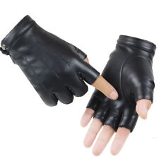 Men Women Leather Gloves Unisex Genuine Fingerless Mittens Half Finger Driving