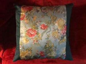 Chinese Style Brocade Cushion Cover Pillow Case Green Border with Flowers 18x18""
