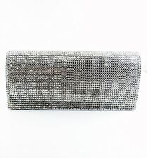 USA WOMENS Evening HANDBAG Clutch Purse RHINESTONE CRYSTAL Wedding Silver 10