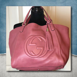 Gucci Large Leather Satchel Neiman Marcus Ltd Edition Vintage Rose
