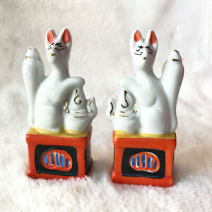 """PAIR OF JAPANESE PORCELAIN SHINTO INARI FOX STATUES 4.5"""" Tall Lucky Charm Set"""