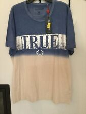 True Religion Mens Retro Blue Metallic Dip Dye Short Sleeve Graphic Tee XXL $79
