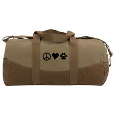 Peace Sign Heart Dog Paw Print Two Tone 19� Duffle Bag with Brown Bottom