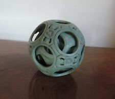 Large Chinese Carved Stone Puzzle Ball Green Soapstone