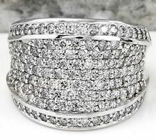 3.15Ct Diamante Natural 14K Oro Blanco Macizo Anillo de Banda