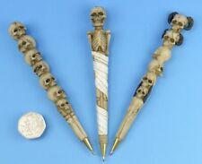 Novelty Resin Skull Ballpoint Pen - Gothic Skeletons Stationary