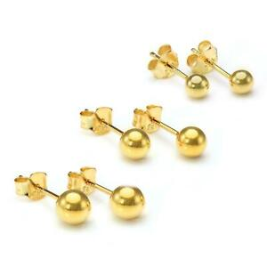 Gold Plated Small Sterling Silver Ball Stud Earrings 2 3 4 5 6mm & Sets