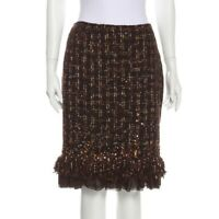 Lafayette 148 brown tweed hand beaded skirt size 16 Retail Price $448