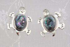 Turtle Earrings Alpaca Silver and Abalone Shell Post Type Fashion Jewelry NEW