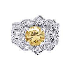 Gold Engagement Ring Wedding Bridal Set 2.75 ct Golden Moissanite 10k White