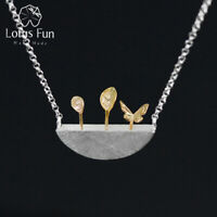 Unique 18K Gold Leaf  Garden Necklace for Women Solid 925 Silver Fine Jewelry