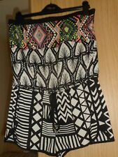 RIVER ISLAND BLACK WHITE PINK PRINT BANDEAU  SHORTS SUMMER PLAYSUIT UK XS