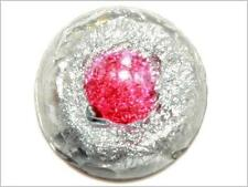 (1) 11mm Antique Victorian Czech rare silver foil red peacock eye glass cabochon