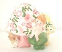 Vintage Napcoware MCM Ceramic Planter Pink Yellow Baby Bunny Mushrooms NURSERY
