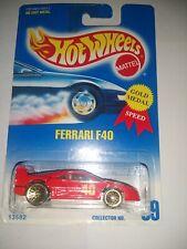 FERRARI F40 HOT WHEELS #69 RED 1991 13582 3SP Wheels MINT!!