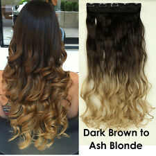 """23"""" Curly Ombre One Piece Clip in Hair Extensions Brown Blonde Full Head Thick T"""