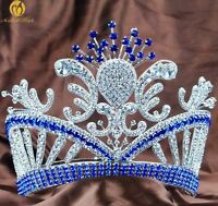 Floral Blue Tiara Crown Rhinestone Crystal Large Headpiece Wedding Pageant Party