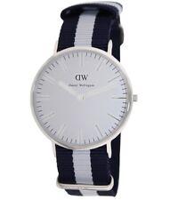 New Daniel Wellington Men's 0204DW Glasgow Stainless Steel Watch Striped Nylon
