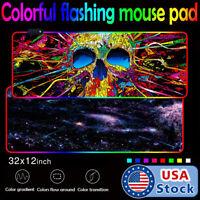 USA RGB LED Extra Large Soft Gaming Mouse Pad Oversized Glowing 31.5x12