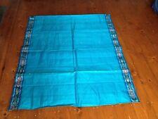 Hermosa sari de tela de seda de la India Turquesa