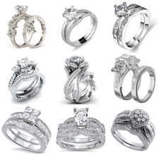 925 Silver Filled White Sapphire Crystal Gemstones Wedding Jewelry Set Rings