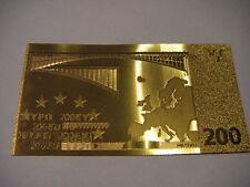 BILLET 200 EUROS REPLICA OR GOLD 24K