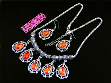 Betsey Johnson Jewelry Charm Crystal Rhinestone Water Drop Golden Chain Necklace