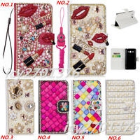 PU Leather Flip Bling Diamond Wallet Case Girls' Phone Cover bag with strap #85