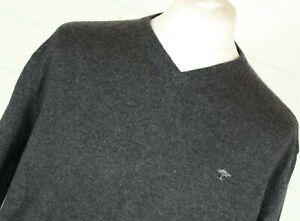 FYNCH-HATTON Merino Wool Cashmere Jumper XL Grey Vneck Autumn Winter Christmas