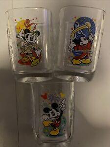 2000 Walt Disney World Epcot Celebration Glasses McDonalds Mickey Mouse Set Of 3