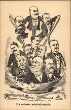 Political Satire Humor France Poincare? La Salade Ministerielle c1905 Postcard