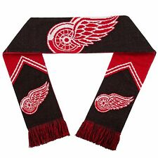 """Detroit Red Wings NHL Hockey Team 60"""" Reversible Stripe Acrylic Scarf Knit NEW"""