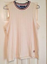 Vintage Tommy Hilfiger Women's Vest Large Ivory Cable Knit Crest