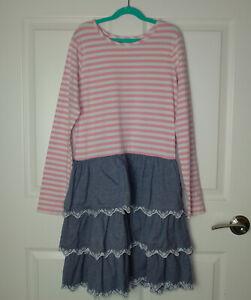 Girl's Hanna Andersson Half & Half Dress Pink & Woven Eyelet Oxford Skirt 160