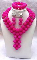 PrestigeApplause Fushia Pink Wedding Bridal Party African Nigerian Beads Jewelry