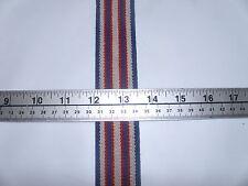 "35 yd Roll 1 1/2"" Heavy Duty Suspender Elastic Striped Navy, Red & Beige"