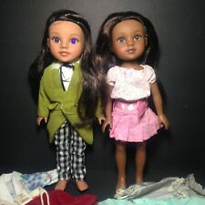 """Hearts for Hearts H4H 14""""Doll Nahji~ India & Consuelo~Mexico With Clothes Lot"""