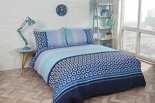 hexagonal réunis rayures bleu blanc mélange de coton Housse de couette King-size