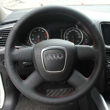 1 set Black Leather Wrap Steering Wheel Cover Stitch on For Audi Q5