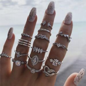 15Pcs/Set Women Midi Finger Ring Set Vintage Punk Boho Knuckle Rings Jewelry