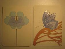 Mid Century Modern Rosenthal Karte Porcelain 2 Postcards: Blaue Blume & Papillon