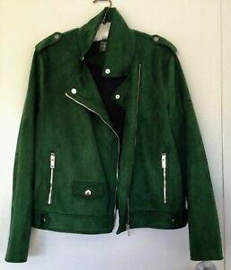 Primark green faux suede zippered jacket Size L EU48